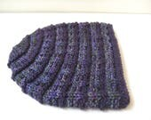 purple green hand knit merino wool hat