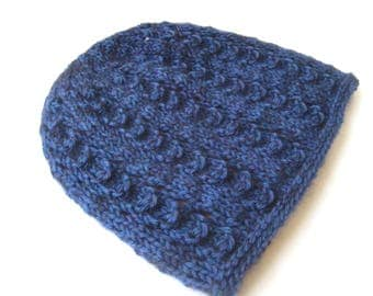 blue wool lace knit hat blue hand knit