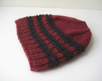 brick red and black knit hat knit cap