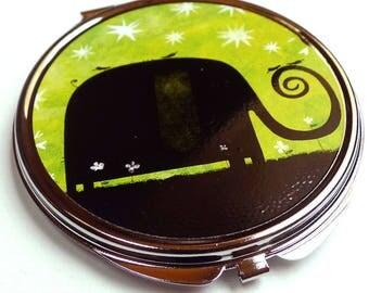 Pocket mirror, green elephant MPR119