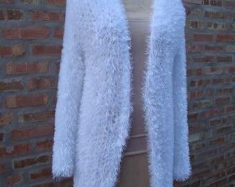 Cardigan Fun Fur Open Front - Crochet - Bright White, Sweater, Duster
