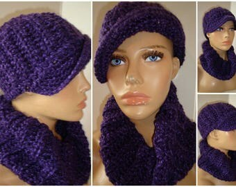 Purple Blend Hat and Neckwarmer Set - Cowl, Cap, Crochet hat set - handmade cap and scarf - Custom Colors
