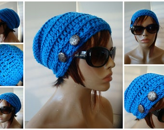 Blue Slouchy Beanie Hat, Crocheted Slouch Hat, Fall Colors, Knit Slouch Hat, Hat with Button, Warm Hat, Women Teens Accessory Gift