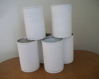 Painted Tin Cans ~ Salvage Tin Cans ~ White Painted Tin Cans ~ Set of 6 Painted Tin Cans - Craft Supply