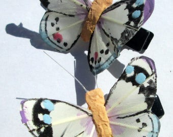 Butterfly Hair Clips small Pastel Colors feather butterfly hand made hair clip Butterfly Accessory