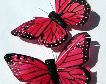 Butterfly Hair Clips Watermelon Red and black Monarch feather butterfly hand made hair clips by Ziporgiabella Butterfly Accessories