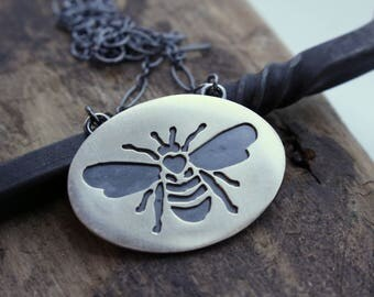 Sterling Silver Honey Bee Necklace - Honeybee Jewelry Hand Sawn