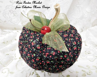 Large,Cherry Fabric Pumpkin Home Decor, Hand Sewn and Created with Real Pumpkin Stems, Fall Decor, Autumn Home Accent, ECS