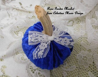 Velvet Pumpkin, Royal Blue, Real Pumpkin Stem,White Lace Ribbon, Fall Decorating, Hand Sewn and Created, ECS