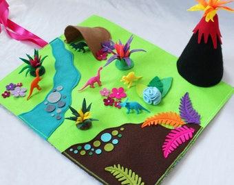 Dinosaur Play Mat - Complete Set - Felt Play Mat - Dinosaurs For Girls - Travel Play Mat - Roll Up Play Mat - Ready to ship