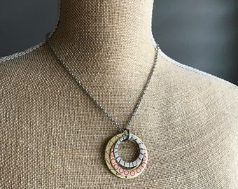 Hand Hammered Mixed Metal Necklace - Silver, Copper, Brass - Gift for Her - Mixed Metals
