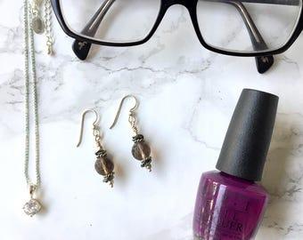 Smoky Quartz Sterling Silver Dangle Earrings