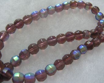 48 AB Lilac Color Glass Beads about 7mm Faceted Round Beads Jewelry Craft Beads