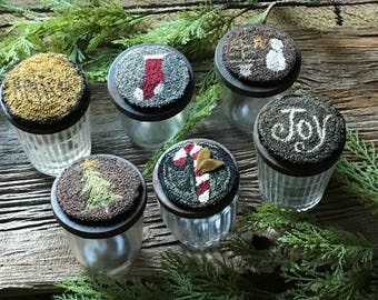 E Pattern Punch Needle Jar Toppers Ornaments Christmas Set of 6