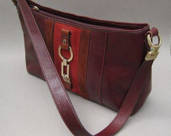 Etienne Aigner Handbag Burgundy Red Leather & Suede Classic 1980s Vintage Leather Bag with Brass Hardware