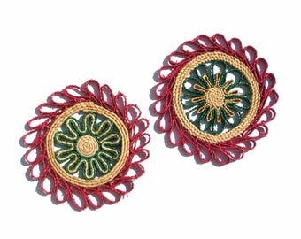 Vintage Woven Straw Trivets Boho Decor Pink & Green Borders Round Raffia Trivet Wall Hanging Pair