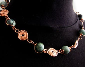 Necklace #Beads #Jasper Turquoise #Copper Wire Spiral Links #Strong #Fashion #Handcrafted