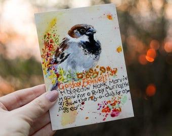 Bird Art Print.  House Sparrow. Little Bird Print. Cheeky Bird Art. Fun Art. Funny Gift.