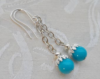 75% Off- Vintage Bead Earrings, Turquoise, Silver, Lightweight and Gently Swing