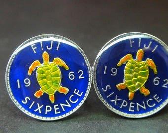 Fiji coin cufflinks sixpence sea turtle 19mm  1962  1942