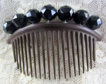 Antique Victorian Early 1900's Black Beaded Decorative Hair Comb Mint Condition Hair Accessory