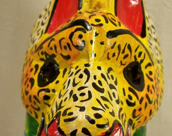 Artisan Art Cuff Bracelet Indigenous Souvenir Tribal Ethnic Jaguar Folk Art Face Mask Art Jewelry Large Statement Showy Hand Carved Animal