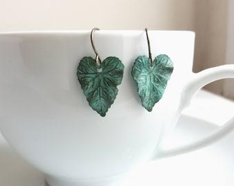 Verdi Gris Ivy Leaf earrings - botanical brass leaf - blue green patina - gift for gardener
