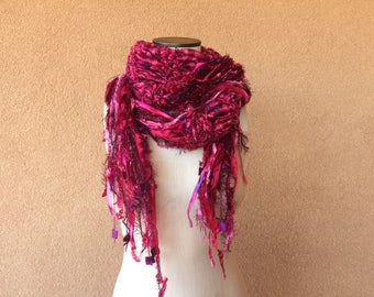 Rose Scarf Pink and Red Scarf with Violet Touches. Metallic Silver Threads, Super Long Scarf 10 Feet Long Fringe Scarf