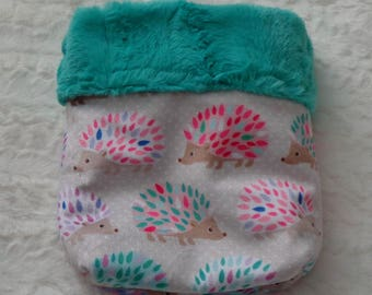 """Snuggle Sack- Pouch for Hedgehog - Whimsical Hedgehog pattern with coordinating Minky fur lining - 9""""x9"""""""