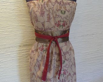 Brown Pillowcase Dress, Brown Dress, Upcycled Pillowcase, Handmade Dress, Strapless Dress, Obi Belt, Recycled Fabric,Unique Clothing,Flowers