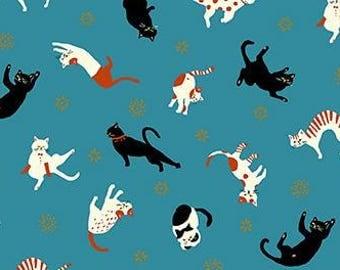 Quilt Gate Hyakka Ryoran CONEKO little cats playing cotton fabric HR3220-13B turquoise