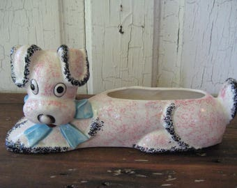 VINTAGE PINK DOG Planter Pottery Collectible