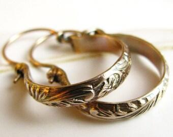 Classic Small Hoop Earring, 14k Gold Fill Hoops, Renaissance Floral Pattern Gold Earring, Metalsmith Jewelry, Small Hoop Earring, Gold Hoops