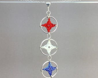 Spangles, red white and blue silk necklace, sterling silver