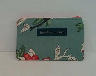 Handmade zip wallet - small - bird paint-by-number