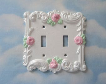 Pink Rose Double Light Switch Plate Cover