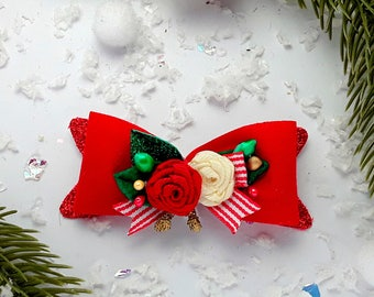Hair Clips Red Bow hair clip handmade Red bow hair clip,red hair bow barrette, red bow hair slide red bow headband