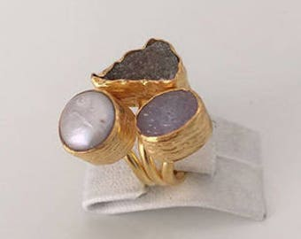 Triple Gold plated  Druzy, Pearl  ring