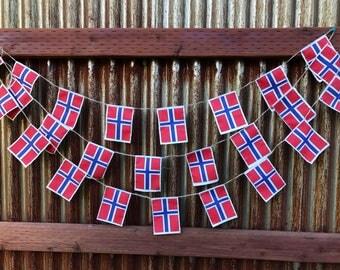 Norwegian flag garland