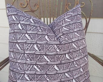double sided Nate Berkus Ethnic Tribal Leira Espresso pillow cover