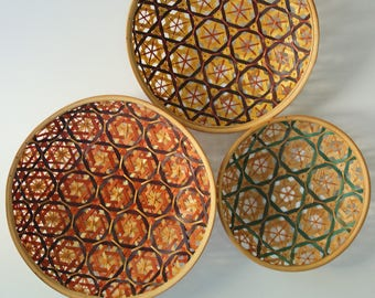 Set of 3 vintage colorful woven bamboo baskets, round bohemian wall hanging decor