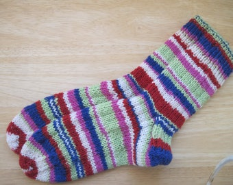 HAND KNIT SOCKS Adult Wool Red Lime Navy Stripes