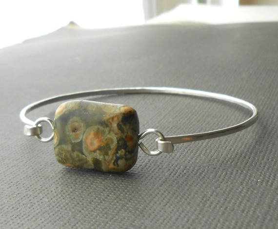Sterling Silver Rhyolite Bangle Wire Bracelet