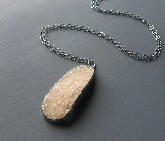 Druzy Pendant, Long Oxidized Silver Sterling Silver Necklace