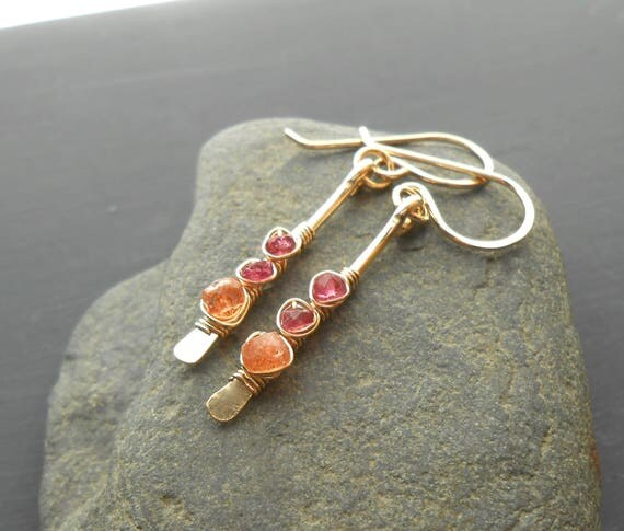 Gold Gemstone Drop Earrings, Pink Tourmaline and Sunstone