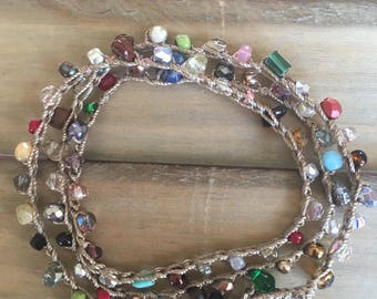 Triple Wrap Bead Crochet Bracelet - Eclectic Mix