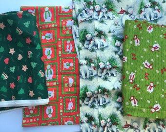 Christmas Fabric Lot Calico Cotton Fabric