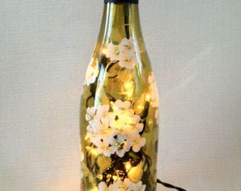 Hand painted white hydrangea wine bottle light