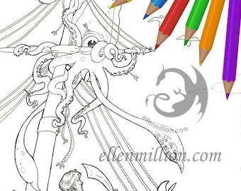 Enemy in the Rigging Sea Monster Battle Digi Stamp Digital Coloring Page for adults - for scrapbooking or cards or coloring