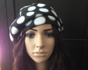 Fleece Hat Slouchy Beret Tam Black Polka Dot Cold Weather Fashion